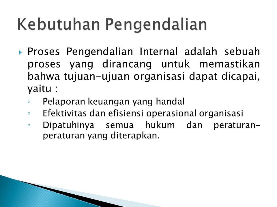  Proses Pengendalian Internal adalah sebuah proses yang dirancang untuk memastikan bahwa tujuan-ujuan organisasi dapat dicapai, yaitu : ◦ Pelaporan k