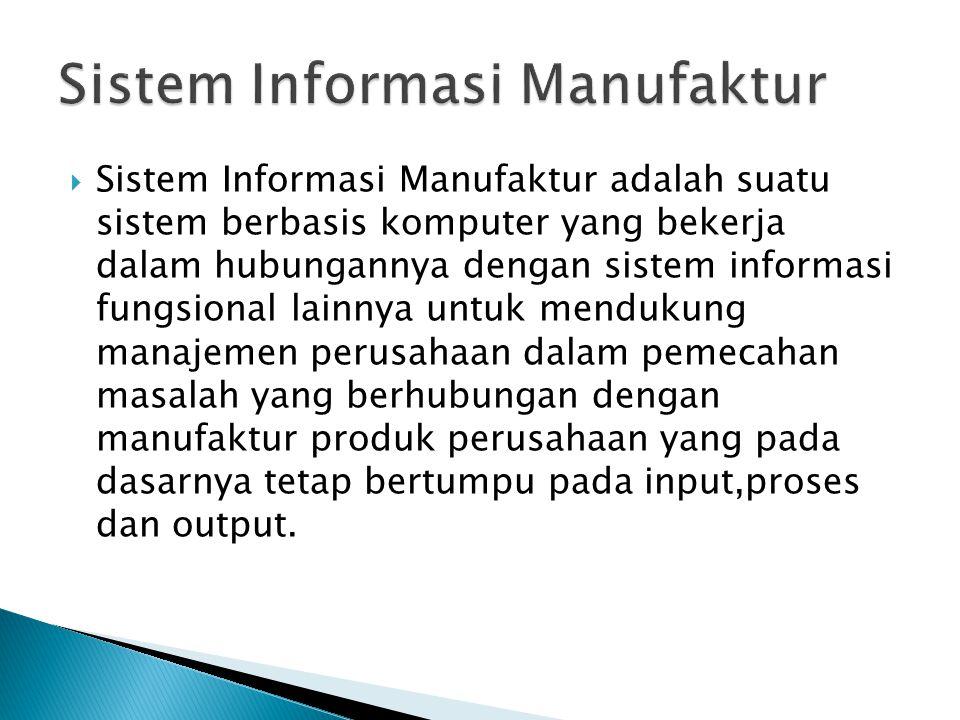  Sistem Informasi Manufaktur adalah suatu sistem berbasis komputer yang bekerja dalam hubungannya dengan sistem informasi fungsional lainnya untuk me