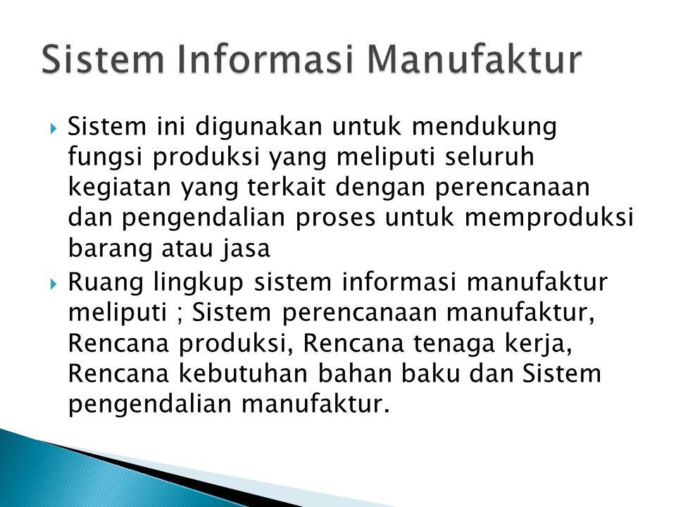  Sistem ini digunakan untuk mendukung fungsi produksi yang meliputi seluruh kegiatan yang terkait dengan perencanaan dan pengendalian proses untuk me