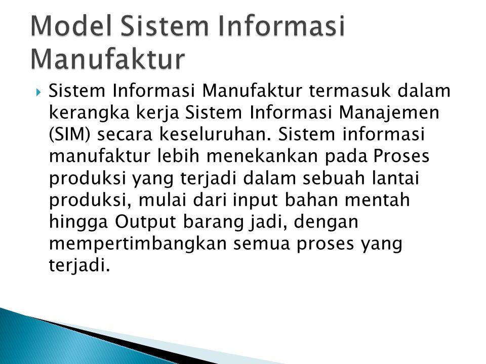  Sistem Informasi Manufaktur termasuk dalam kerangka kerja Sistem Informasi Manajemen (SIM) secara keseluruhan. Sistem informasi manufaktur lebih men