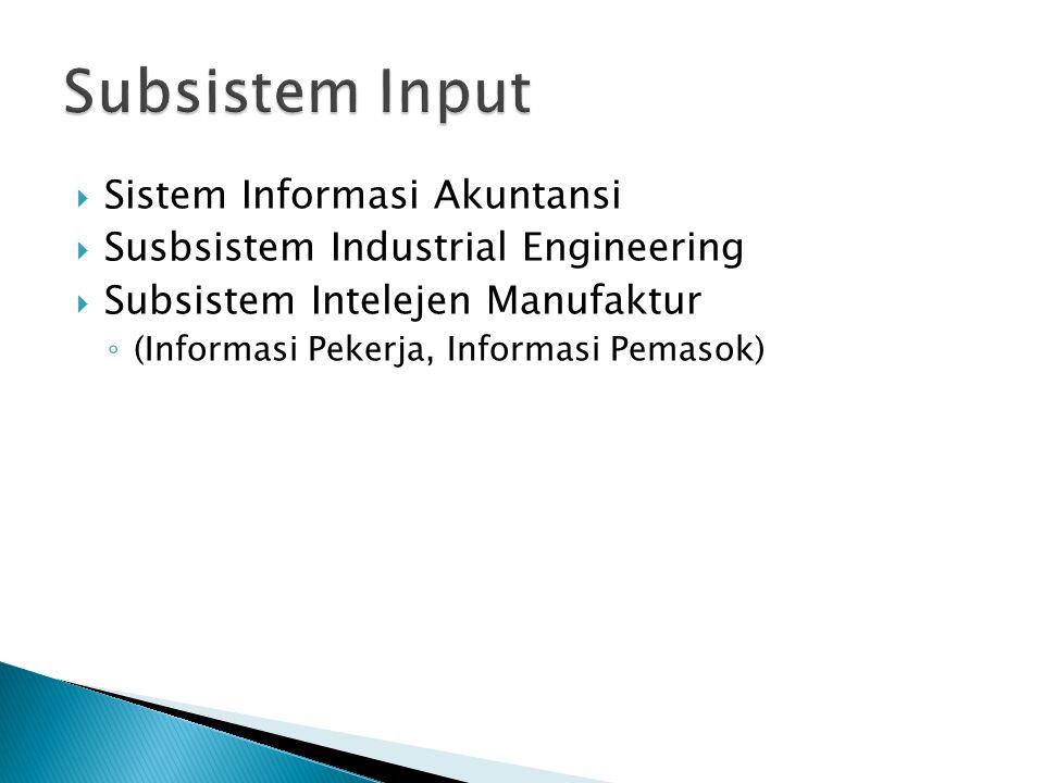 Sistem Informasi Akuntansi  Susbsistem Industrial Engineering  Subsistem Intelejen Manufaktur ◦ (Informasi Pekerja, Informasi Pemasok)