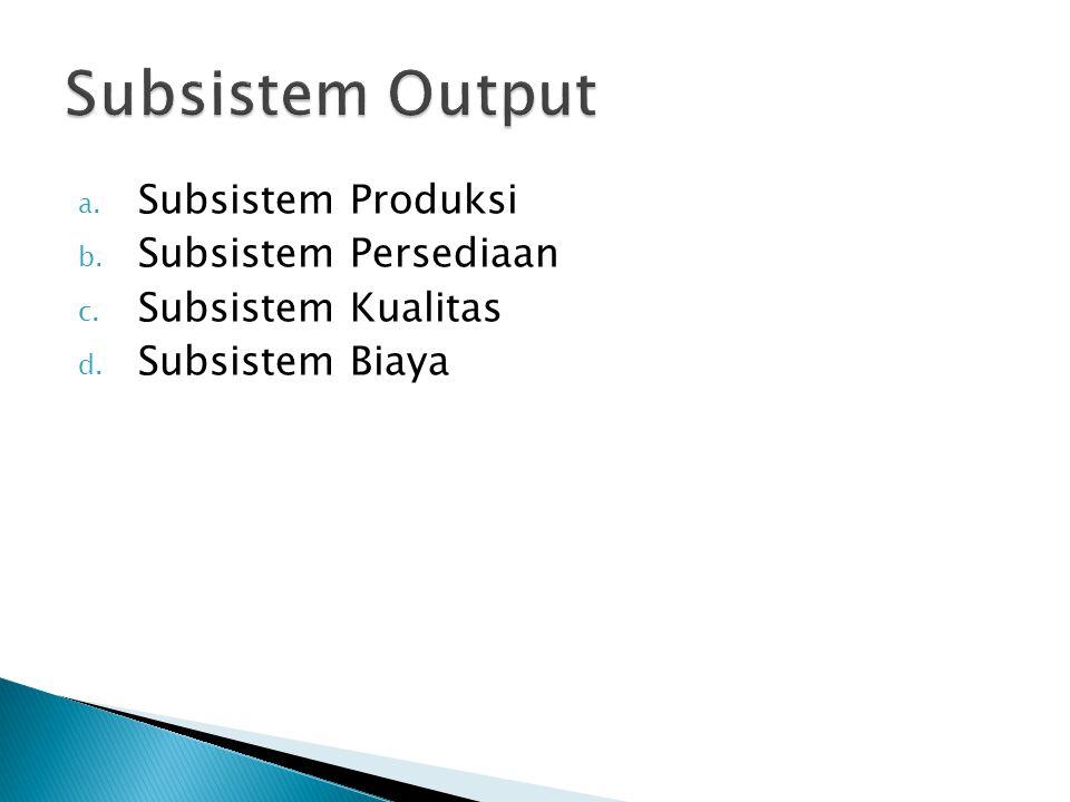 a. Subsistem Produksi b. Subsistem Persediaan c. Subsistem Kualitas d. Subsistem Biaya