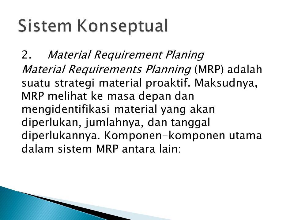 2.Material Requirement Planing Material Requirements Planning (MRP) adalah suatu strategi material proaktif. Maksudnya, MRP melihat ke masa depan dan