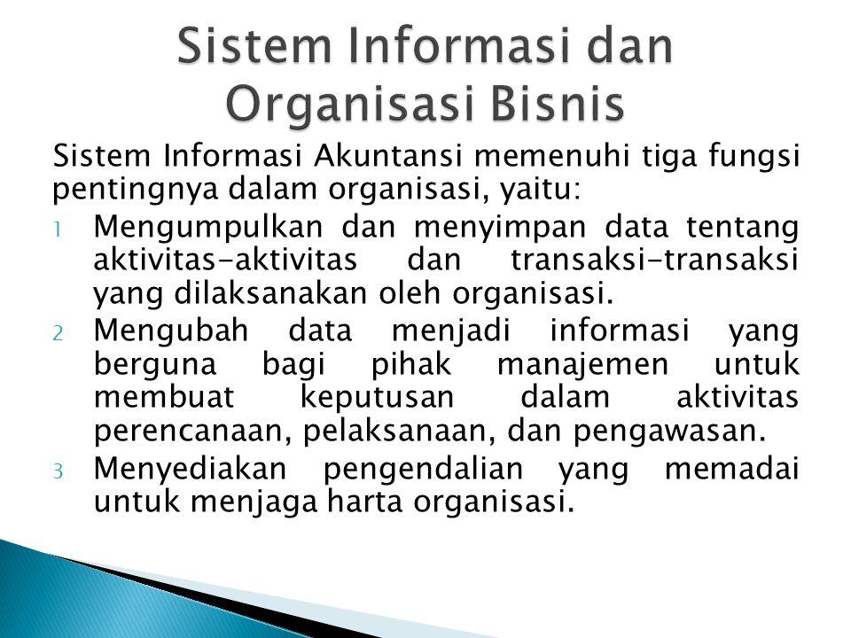 Sistem Informasi Akuntansi memenuhi tiga fungsi pentingnya dalam organisasi, yaitu: 1 Mengumpulkan dan menyimpan data tentang aktivitas-aktivitas dan