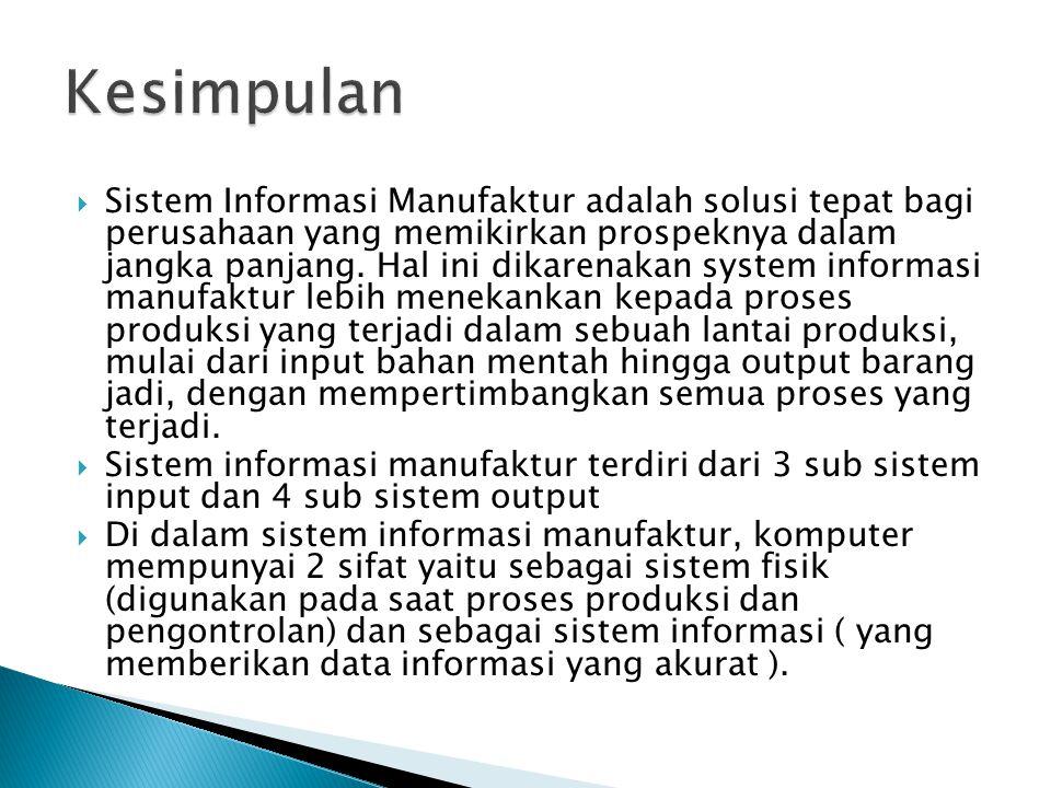  Sistem Informasi Manufaktur adalah solusi tepat bagi perusahaan yang memikirkan prospeknya dalam jangka panjang. Hal ini dikarenakan system informas