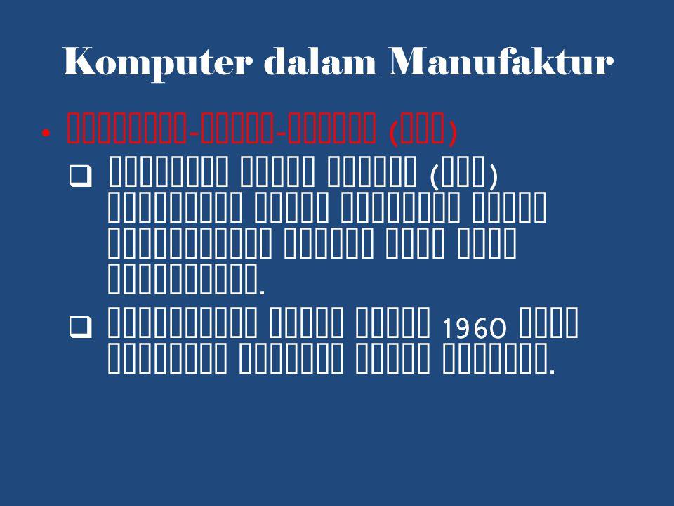 Komputer dalam Manufaktur Computer - Aided - Design ( CAD )  Komputer untuk disain ( CAD ) digunakan untuk membantu dalam perancangan produk yang akan diproduksi.