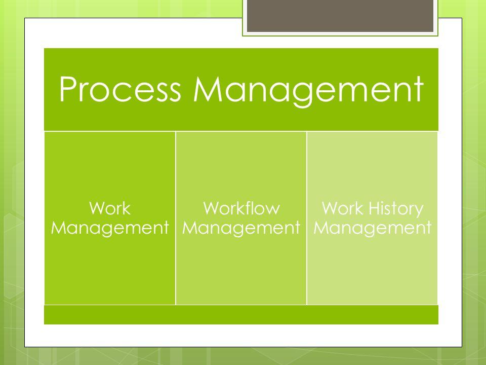 Process Management Work Management Workflow Management Work History Management