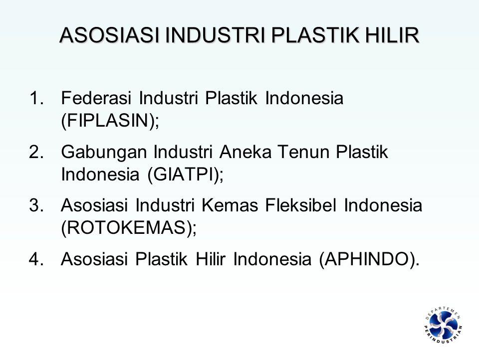 1.Federasi Industri Plastik Indonesia (FIPLASIN); 2.Gabungan Industri Aneka Tenun Plastik Indonesia (GIATPI); 3.Asosiasi Industri Kemas Fleksibel Indo