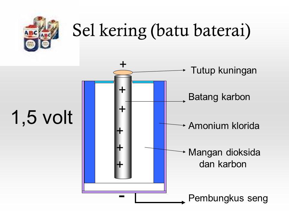 Sel kering (batu baterai) Tutup kuningan Batang karbon Amonium klorida Mangan dioksida dan karbon Pembungkus seng + - + + + + + 1,5 volt