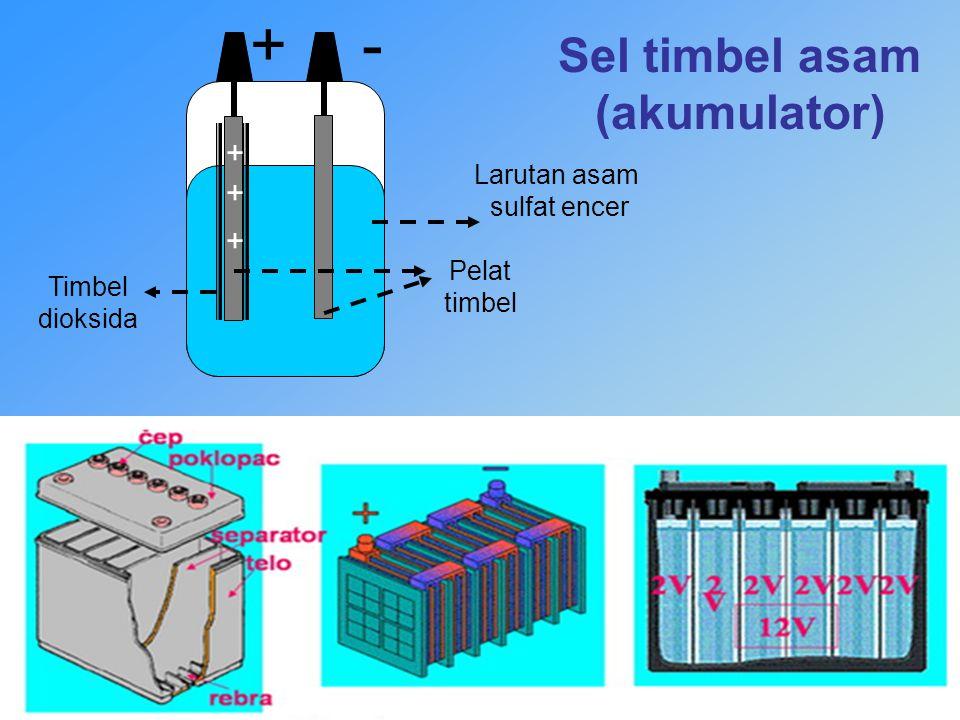 Sel timbel asam (akumulator) - + + + Larutan asam sulfat encer Pelat timbel Timbel dioksida +