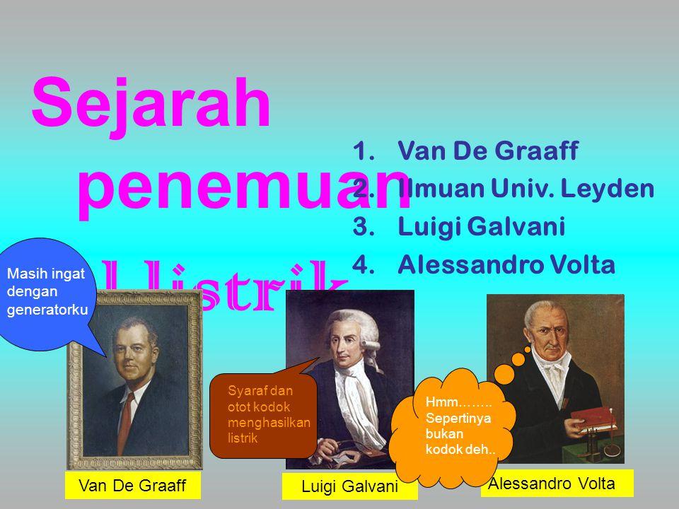 Sejarah penemuan sel listrik 1.Van De Graaff 2.Ilmuan Univ. Leyden 3.Luigi Galvani 4.Alessandro Volta Alessandro Volta Luigi Galvani Van De Graaff Mas