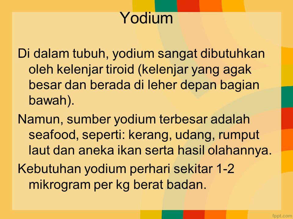 Yodium Di dalam tubuh, yodium sangat dibutuhkan oleh kelenjar tiroid (kelenjar yang agak besar dan berada di leher depan bagian bawah).