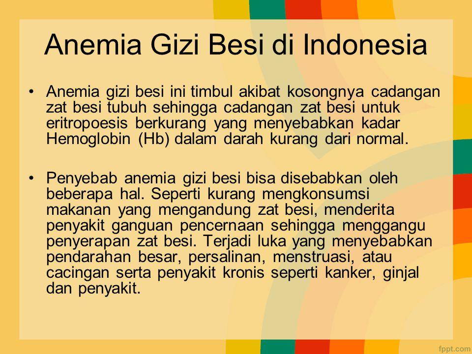 Anemia Gizi Besi di Indonesia Anemia gizi besi ini timbul akibat kosongnya cadangan zat besi tubuh sehingga cadangan zat besi untuk eritropoesis berkurang yang menyebabkan kadar Hemoglobin (Hb) dalam darah kurang dari normal.