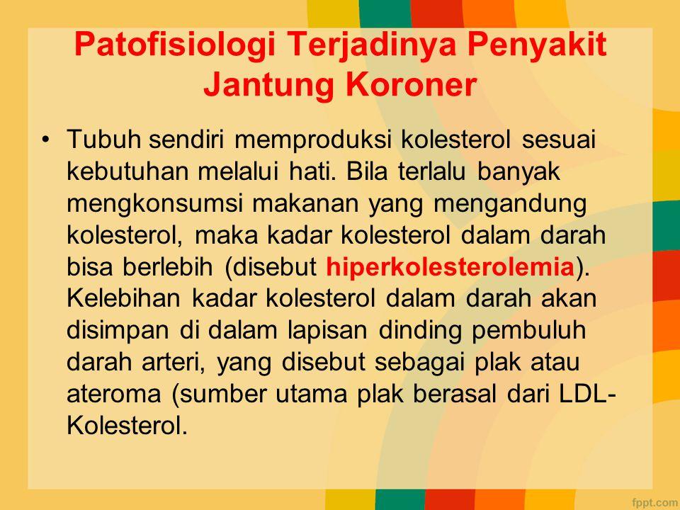 Patofisiologi Terjadinya Penyakit Jantung Koroner Tubuh sendiri memproduksi kolesterol sesuai kebutuhan melalui hati.