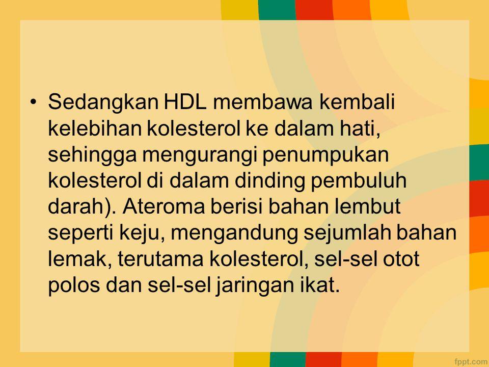 Sedangkan HDL membawa kembali kelebihan kolesterol ke dalam hati, sehingga mengurangi penumpukan kolesterol di dalam dinding pembuluh darah).