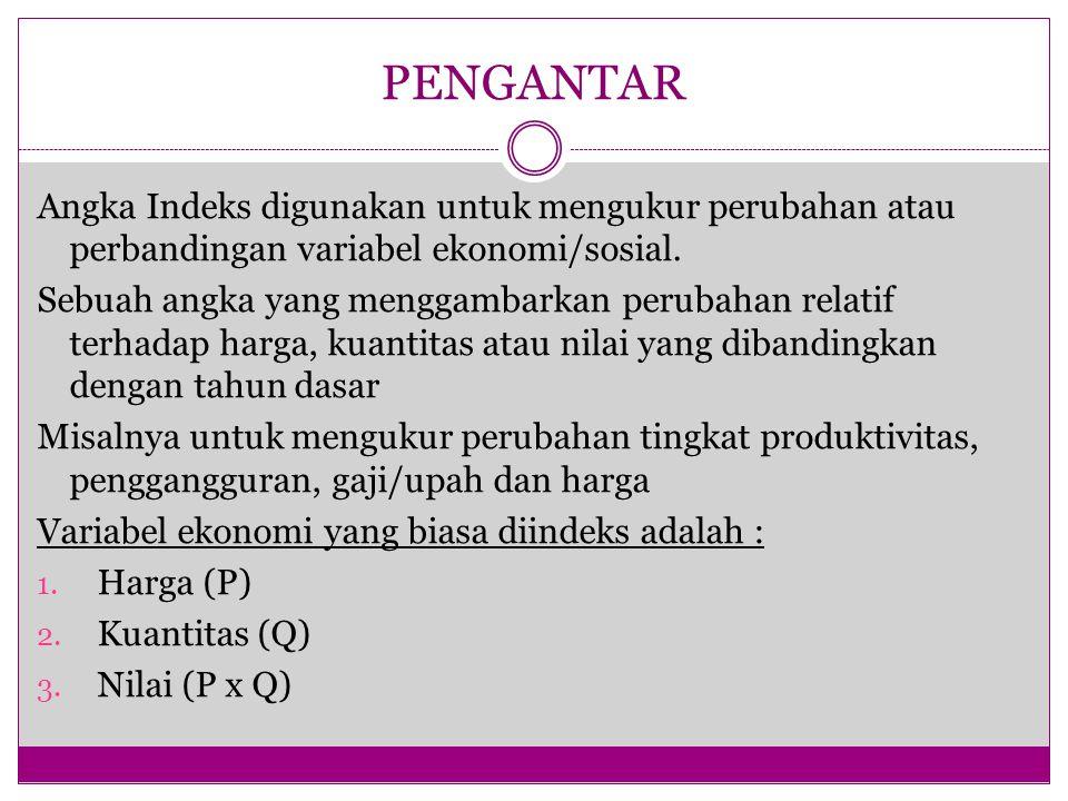 PENGANTAR Angka Indeks digunakan untuk mengukur perubahan atau perbandingan variabel ekonomi/sosial. Sebuah angka yang menggambarkan perubahan relatif