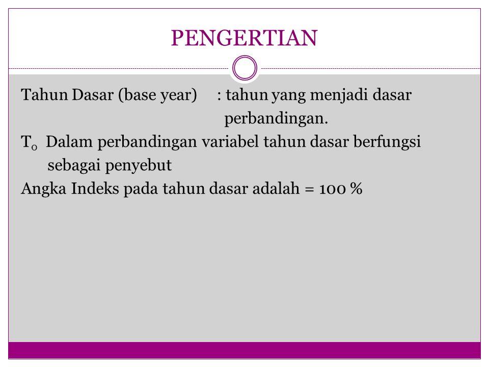 PENGERTIAN Tahun Dasar (base year): tahun yang menjadi dasar perbandingan. T 0 Dalam perbandingan variabel tahun dasar berfungsi sebagai penyebut Angk