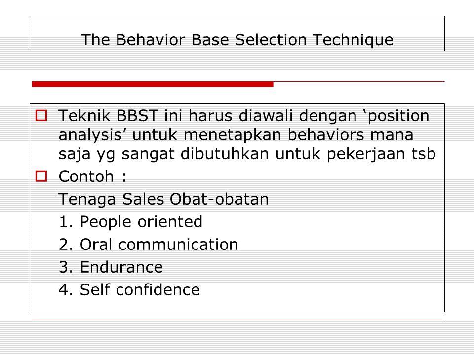 The Behavior Base Selection Technique  Teknik BBST ini harus diawali dengan 'position analysis' untuk menetapkan behaviors mana saja yg sangat dibutu