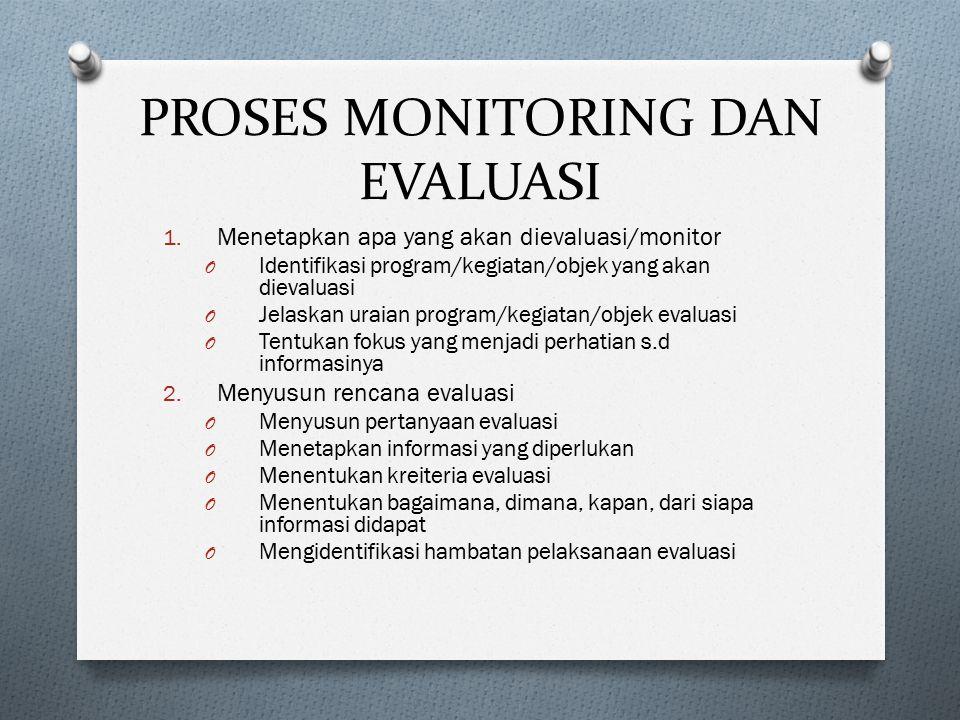 PROSES MONITORING DAN EVALUASI 1. Menetapkan apa yang akan dievaluasi/monitor O Identifikasi program/kegiatan/objek yang akan dievaluasi O Jelaskan ur