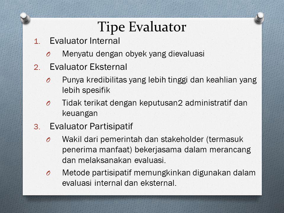 Tipe Evaluator 1. Evaluator Internal O Menyatu dengan obyek yang dievaluasi 2. Evaluator Eksternal O Punya kredibilitas yang lebih tinggi dan keahlian
