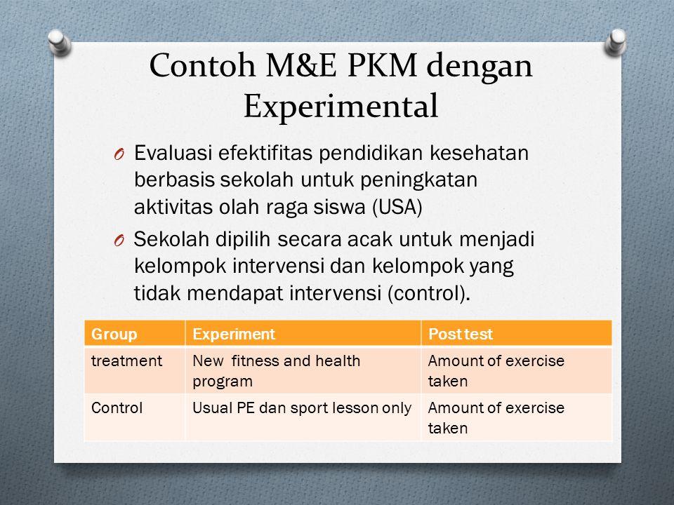 Contoh M&E PKM dengan Experimental O Evaluasi efektifitas pendidikan kesehatan berbasis sekolah untuk peningkatan aktivitas olah raga siswa (USA) O Se