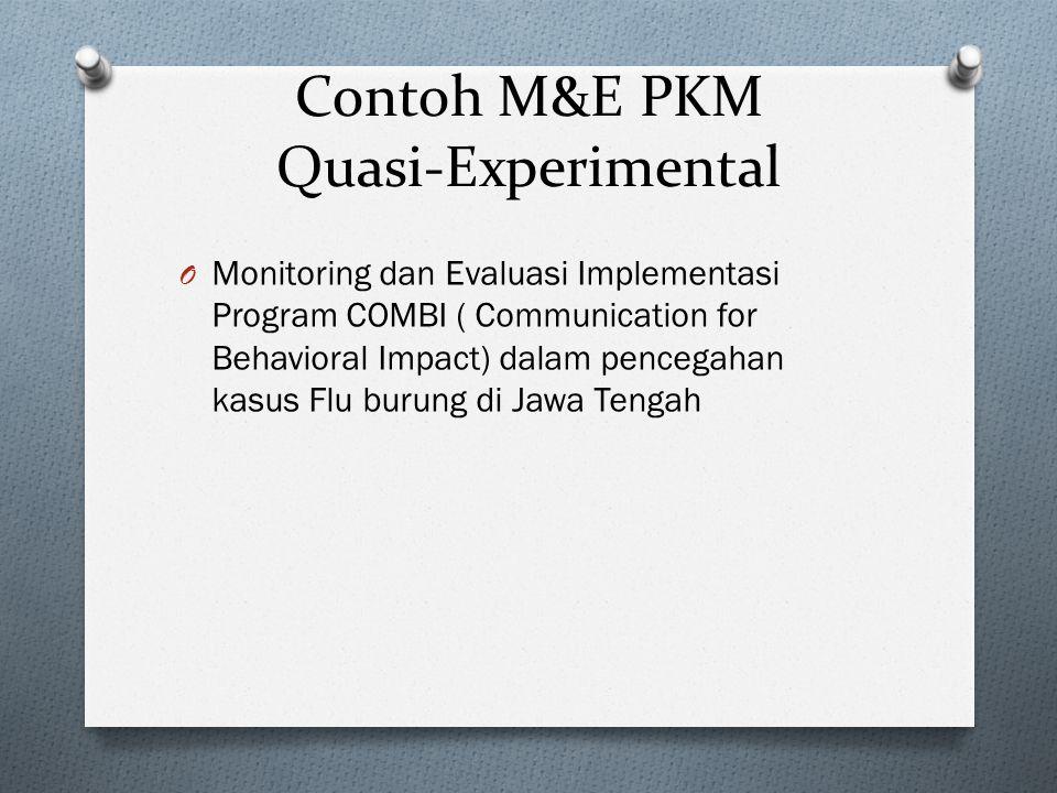 Contoh M&E PKM Quasi-Experimental O Monitoring dan Evaluasi Implementasi Program COMBI ( Communication for Behavioral Impact) dalam pencegahan kasus F