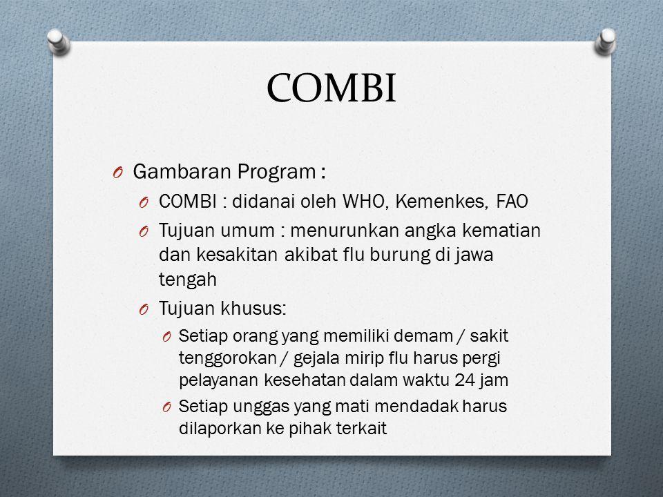 COMBI O Gambaran Program : O COMBI : didanai oleh WHO, Kemenkes, FAO O Tujuan umum : menurunkan angka kematian dan kesakitan akibat flu burung di jawa