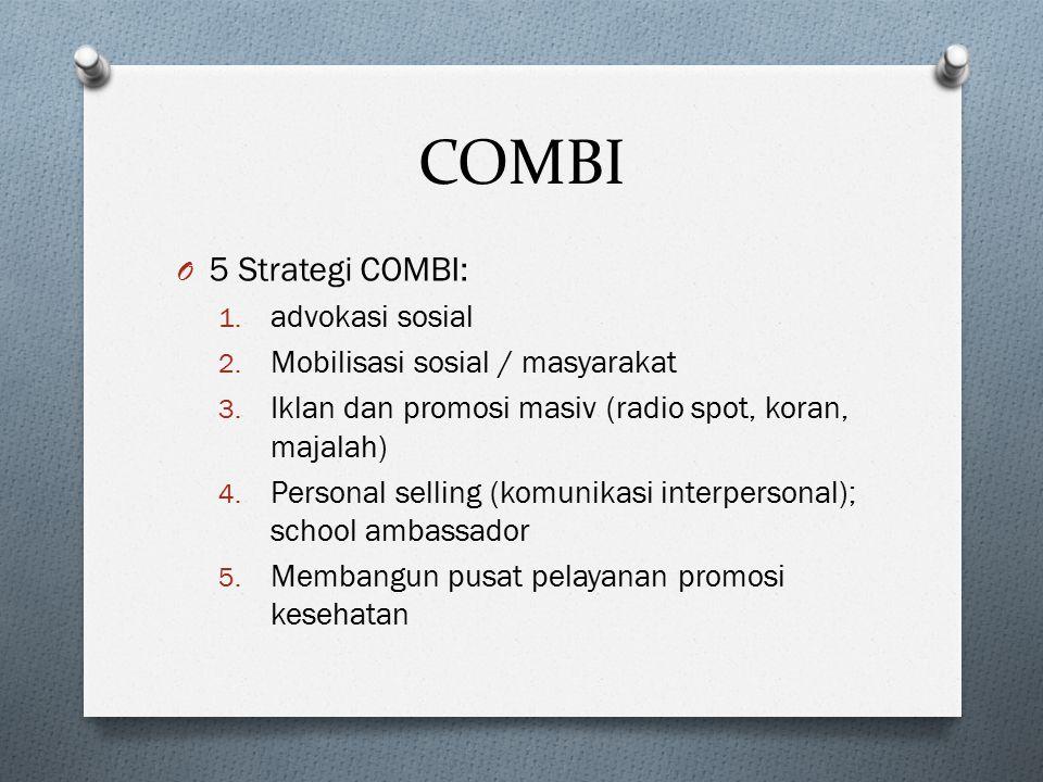 COMBI O 5 Strategi COMBI: 1. advokasi sosial 2. Mobilisasi sosial / masyarakat 3. Iklan dan promosi masiv (radio spot, koran, majalah) 4. Personal sel