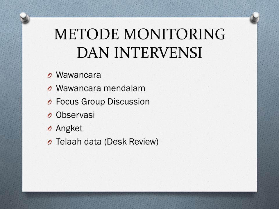 METODE MONITORING DAN INTERVENSI O Wawancara O Wawancara mendalam O Focus Group Discussion O Observasi O Angket O Telaah data (Desk Review)