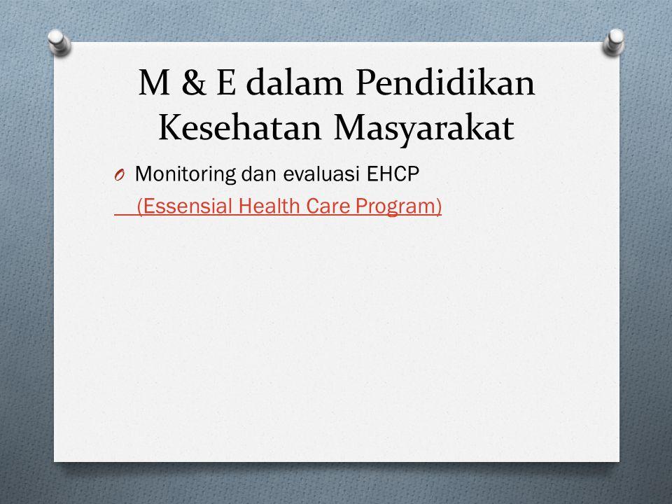 M & E dalam Pendidikan Kesehatan Masyarakat O Monitoring dan evaluasi EHCP (Essensial Health Care Program)