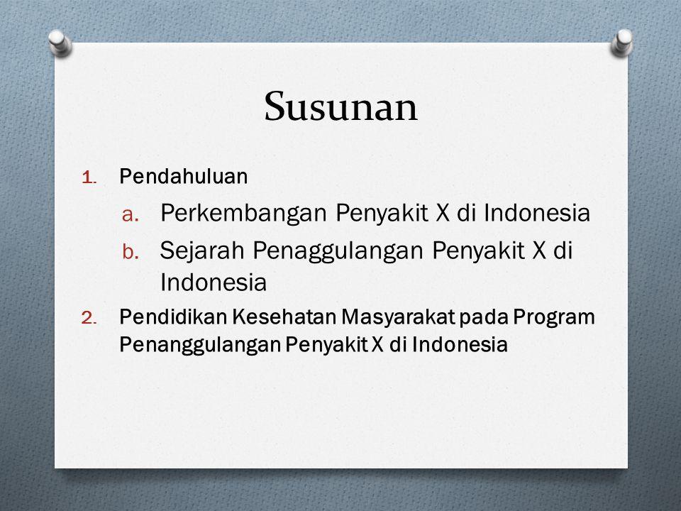 Susunan 1. Pendahuluan a. Perkembangan Penyakit X di Indonesia b. Sejarah Penaggulangan Penyakit X di Indonesia 2. Pendidikan Kesehatan Masyarakat pad
