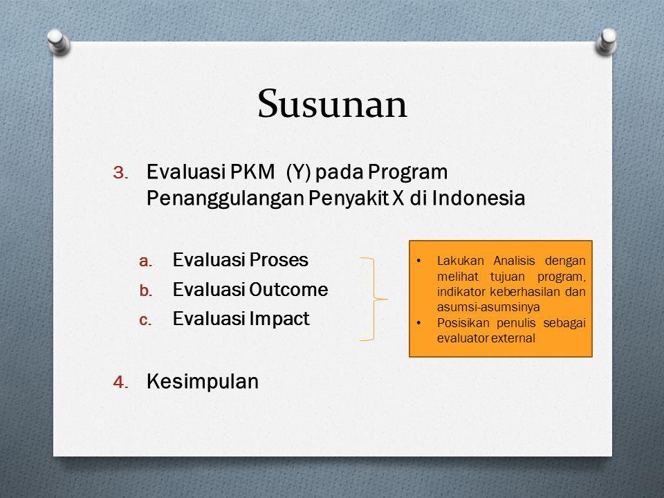 Susunan 3. Evaluasi PKM (Y) pada Program Penanggulangan Penyakit X di Indonesia a. Evaluasi Proses b. Evaluasi Outcome c. Evaluasi Impact 4. Kesimpula