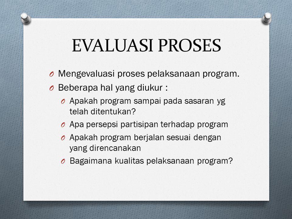 EVALUASI PROSES O Mengevaluasi proses pelaksanaan program. O Beberapa hal yang diukur : O Apakah program sampai pada sasaran yg telah ditentukan? O Ap