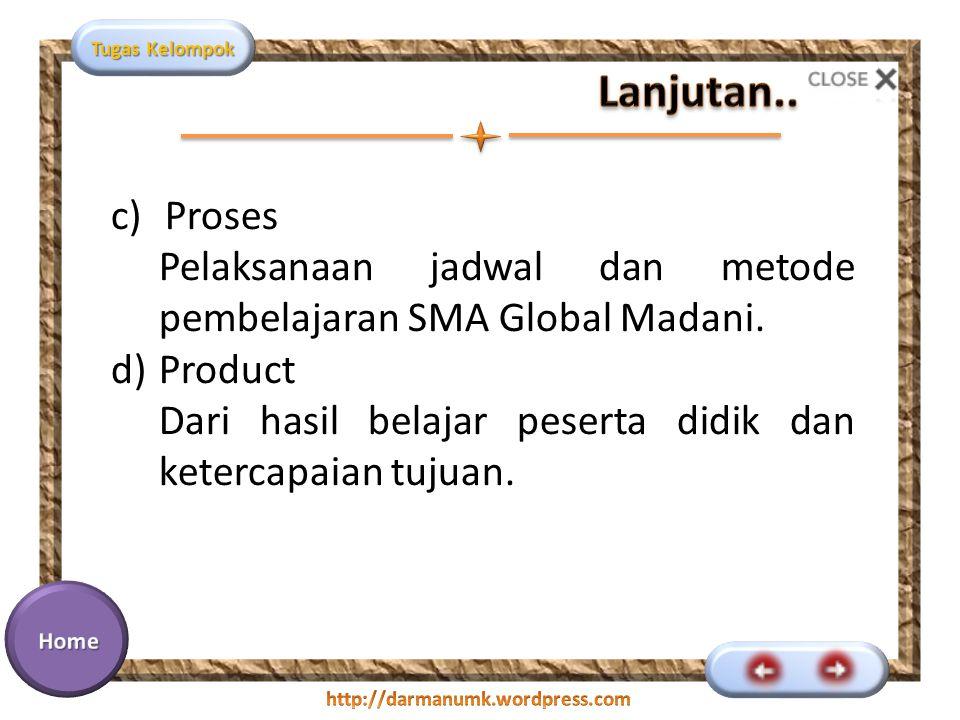 Tugas Kelompok c)Proses Pelaksanaan jadwal dan metode pembelajaran SMA Global Madani. d)Product Dari hasil belajar peserta didik dan ketercapaian tuju
