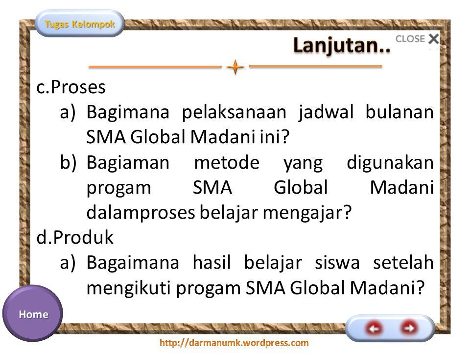 Tugas Kelompok c.Proses a)Bagimana pelaksanaan jadwal bulanan SMA Global Madani ini? b)Bagiaman metode yang digunakan progam SMA Global Madani dalampr