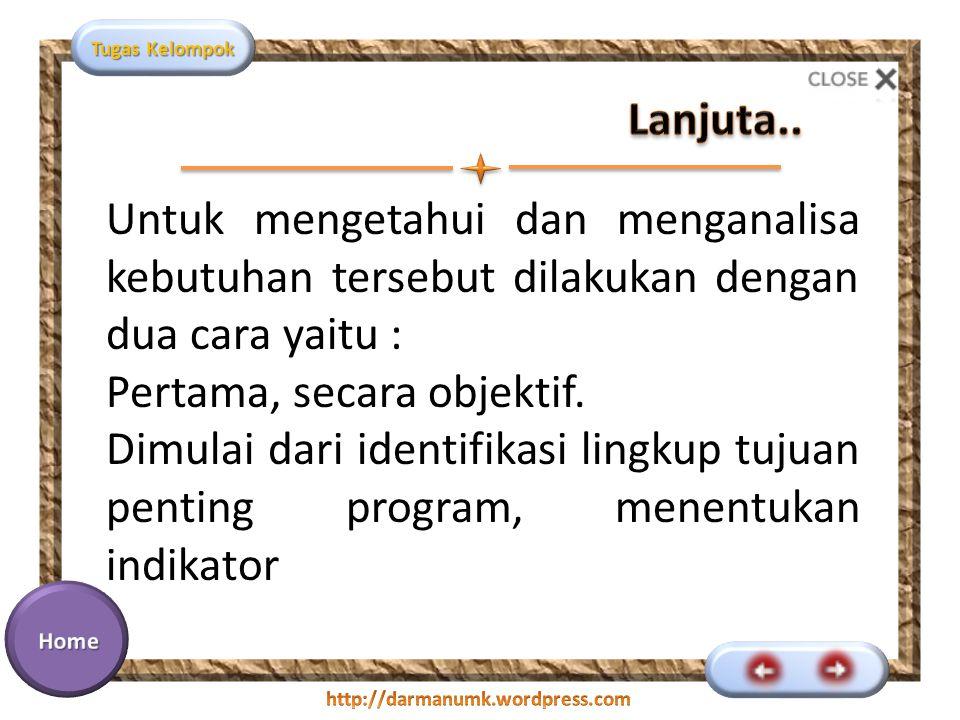 Tugas Kelompok Untuk mengetahui dan menganalisa kebutuhan tersebut dilakukan dengan dua cara yaitu : Pertama, secara objektif.
