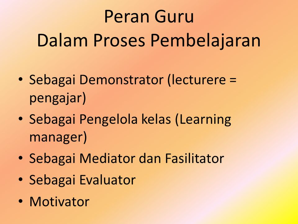 Peran Guru Dalam Proses Pembelajaran Sebagai Demonstrator (lecturere = pengajar) Sebagai Pengelola kelas (Learning manager) Sebagai Mediator dan Fasil
