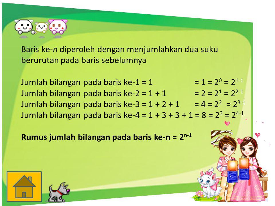 Baris ke-n diperoleh dengan menjumlahkan dua suku berurutan pada baris sebelumnya Jumlah bilangan pada baris ke-1 = 1 = 1 = 2 0 = 2 1-1 Jumlah bilanga