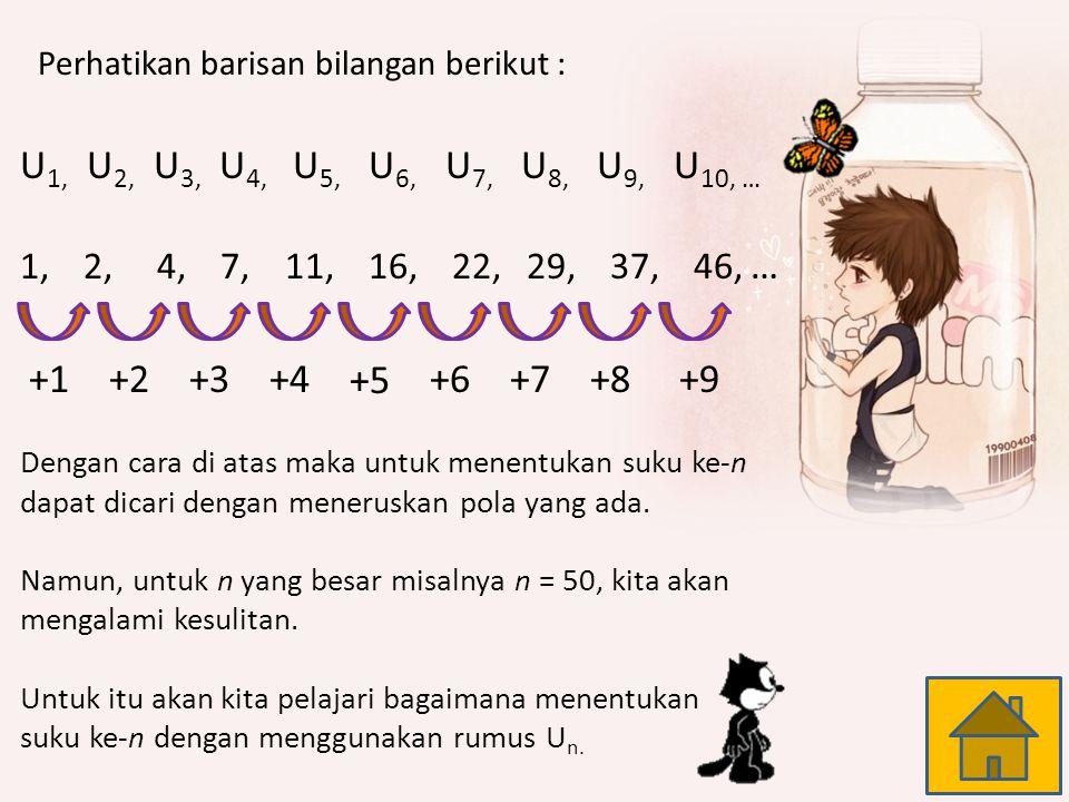 Barisan Bilangan Asli : 1, 2, 3, 4,...