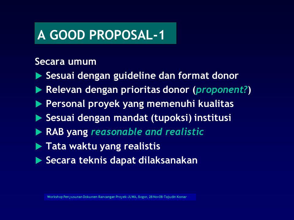 Workshop Penyusunan Dokumen Rancangan Proyek-JLWA, Bogor, 28 Nov08-Tajudin Komar Contoh: Assessment By Expert Panel-1.