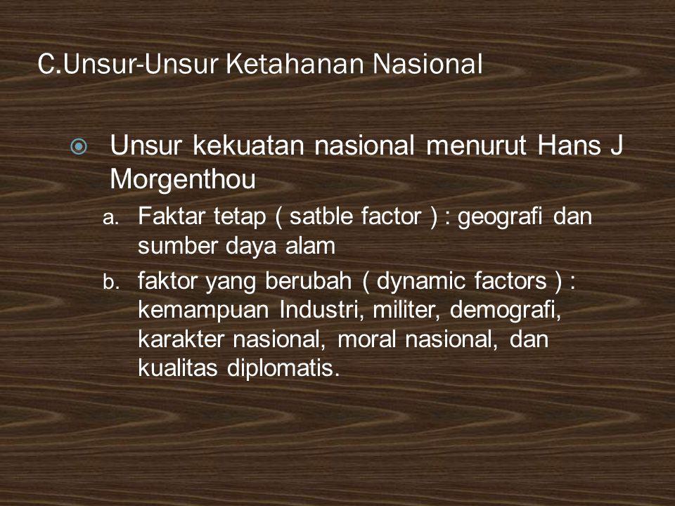 C.Unsur-Unsur Ketahanan Nasional  Unsur kekuatan nasional menurut Hans J Morgenthou a. Faktar tetap ( satble factor ) : geografi dan sumber daya alam