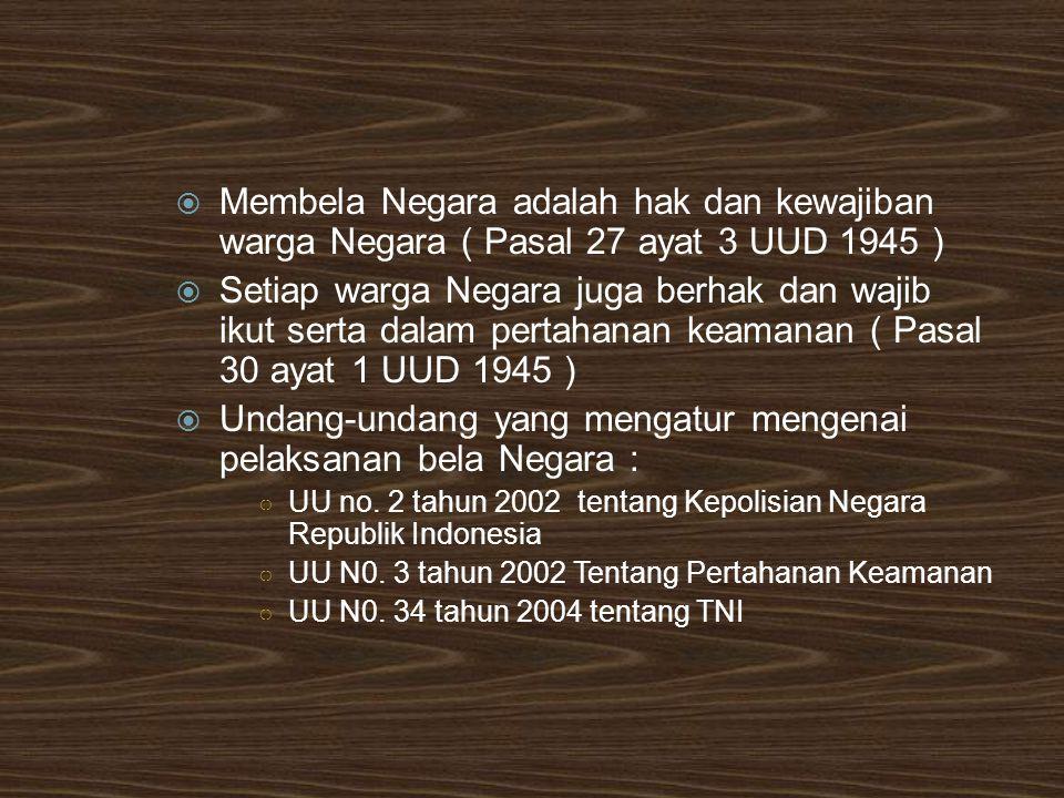  Membela Negara adalah hak dan kewajiban warga Negara ( Pasal 27 ayat 3 UUD 1945 )  Setiap warga Negara juga berhak dan wajib ikut serta dalam perta
