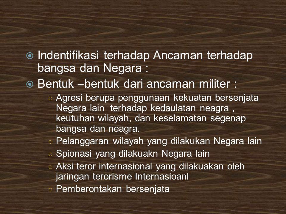  Indentifikasi terhadap Ancaman terhadap bangsa dan Negara :  Bentuk –bentuk dari ancaman militer : ○ Agresi berupa penggunaan kekuatan bersenjata N
