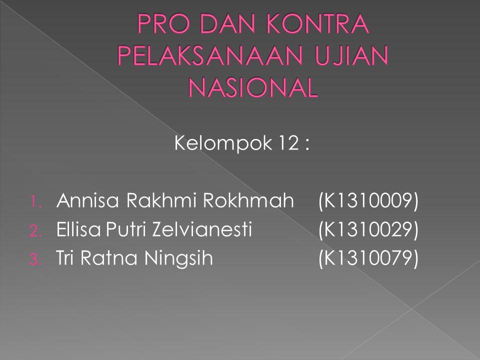 Kelompok 12 : 1. Annisa Rakhmi Rokhmah (K1310009) 2. Ellisa Putri Zelvianesti (K1310029) 3. Tri Ratna Ningsih (K1310079)