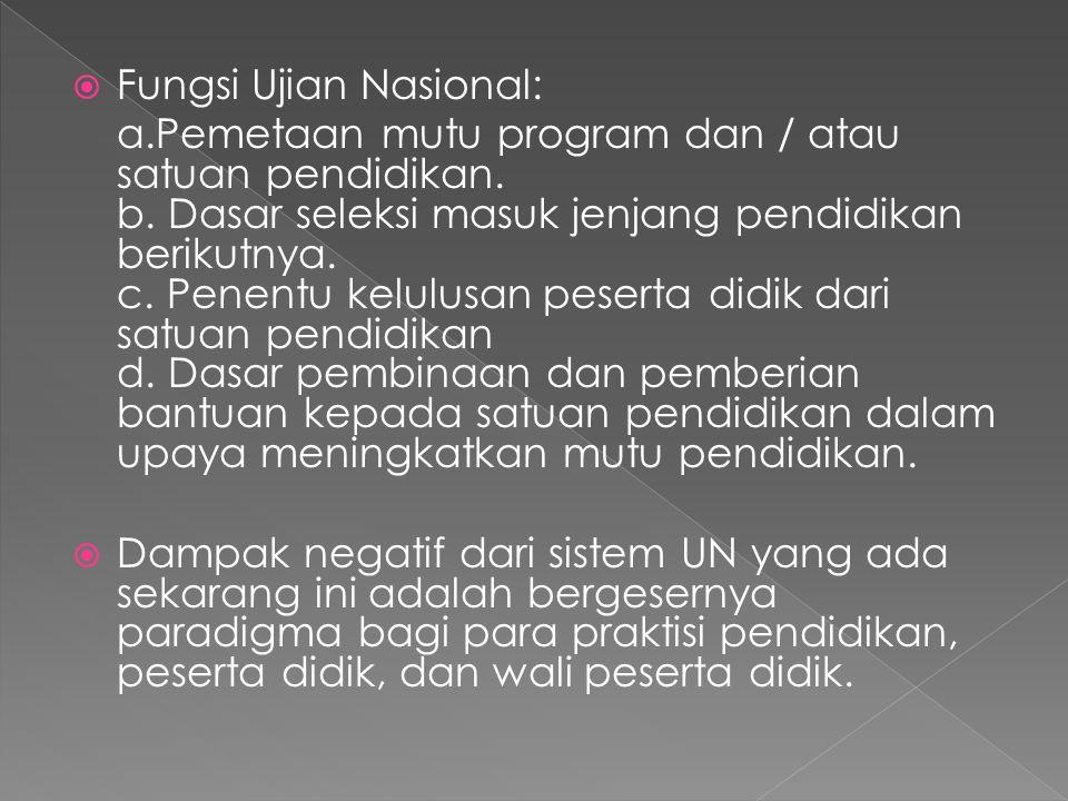  Fungsi Ujian Nasional: a.Pemetaan mutu program dan / atau satuan pendidikan. b. Dasar seleksi masuk jenjang pendidikan berikutnya. c. Penentu kelulu