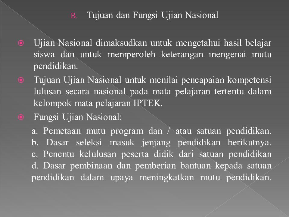 B. Tujuan dan Fungsi Ujian Nasional  Ujian Nasional dimaksudkan untuk mengetahui hasil belajar siswa dan untuk memperoleh keterangan mengenai mutu pe