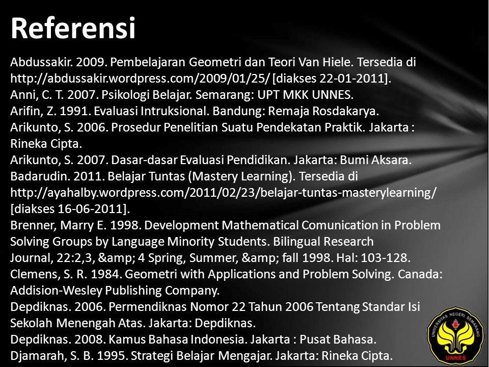 Referensi Abdussakir. 2009. Pembelajaran Geometri dan Teori Van Hiele. Tersedia di http://abdussakir.wordpress.com/2009/01/25/ [diakses 22-01-2011]. A