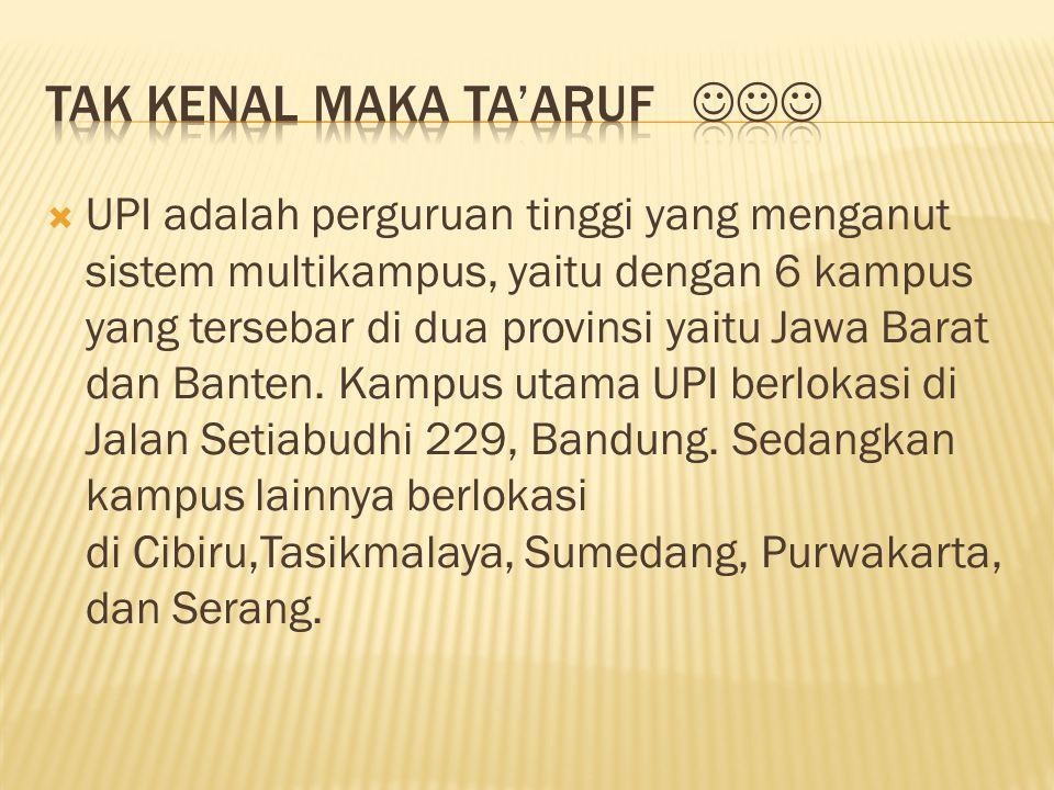  UPI adalah perguruan tinggi yang menganut sistem multikampus, yaitu dengan 6 kampus yang tersebar di dua provinsi yaitu Jawa Barat dan Banten. Kampu