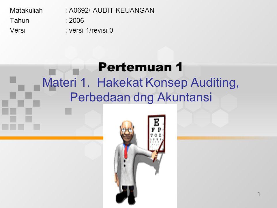 1 Pertemuan 1 Materi 1. Hakekat Konsep Auditing, Perbedaan dng Akuntansi Matakuliah: A0692/ AUDIT KEUANGAN Tahun: 2006 Versi: versi 1/revisi 0