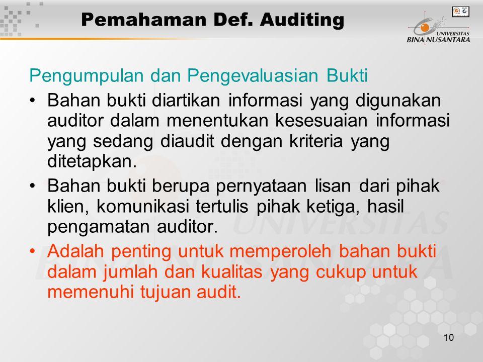 10 Pemahaman Def. Auditing Pengumpulan dan Pengevaluasian Bukti Bahan bukti diartikan informasi yang digunakan auditor dalam menentukan kesesuaian inf